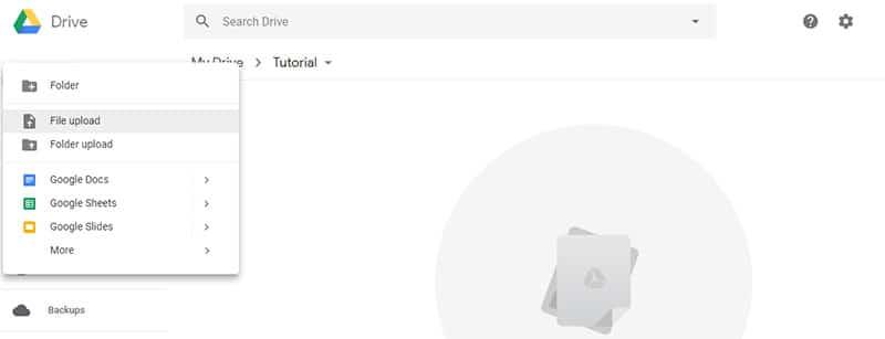 Google Drive upload file