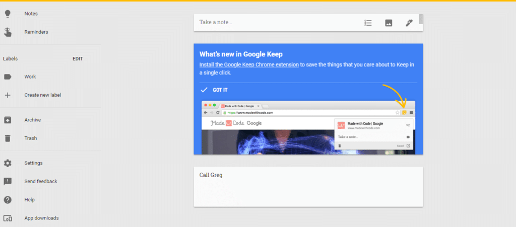 Google Keep - using archives