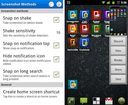 Screenshots - rooted Android devices