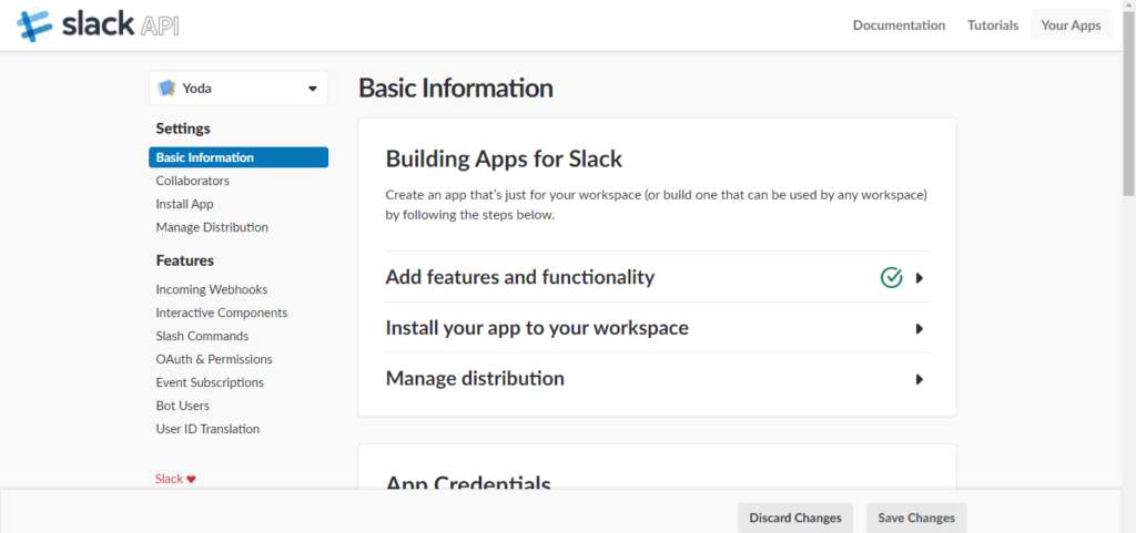 Slack - install your app to your workspace