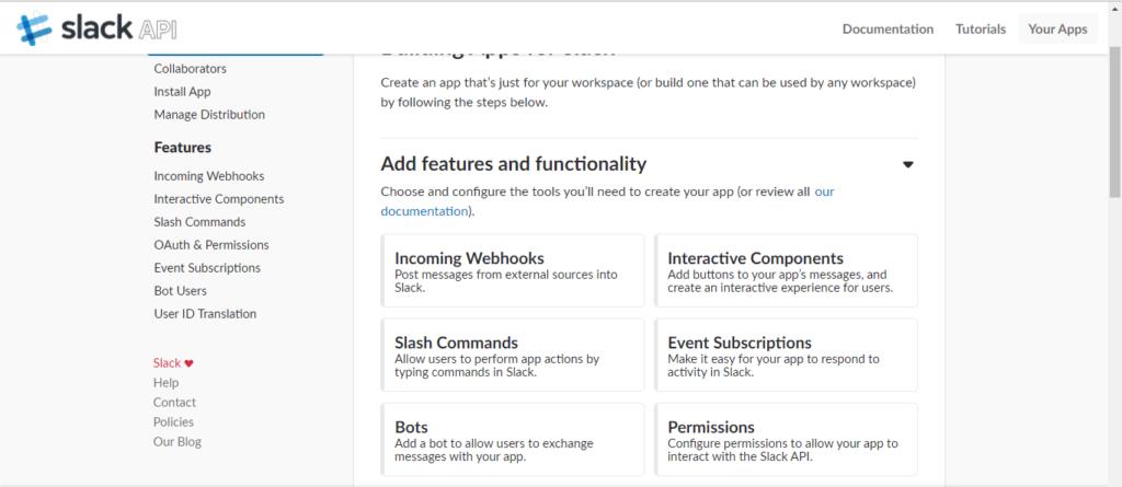 Create Slack App - Slash Commands
