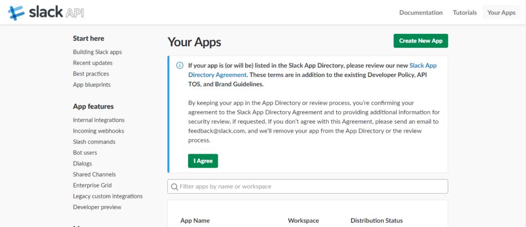 Slack - Create New App