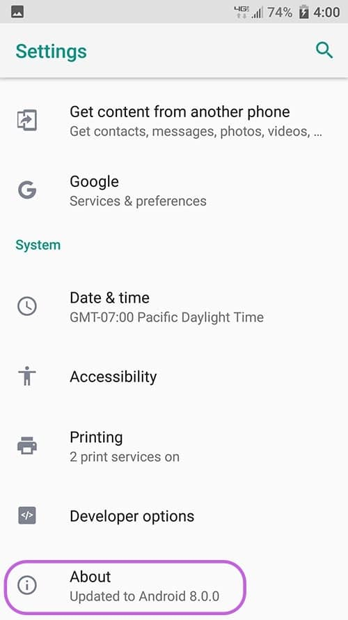 Android - Settings - About
