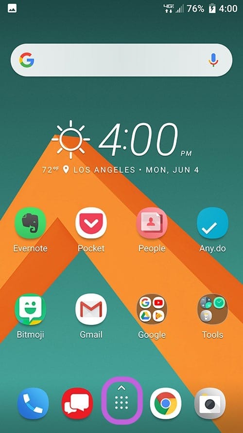 Android - home screen - settings